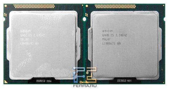 Процессор Intel Celeron G440(слева) и Intel i3-2125(справа), вид спереди