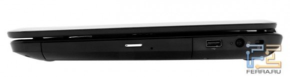Правый торец HP Pavilion g6-1254er: оптический привод, USB, разъем питания, Kensington Lock