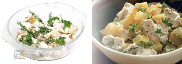 Справа — фото курицы с кабачками в сметане из из «Книги рецептов для микроволновой печи», слева — то же самое блюдо авторского приготовления