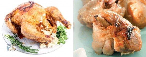 Справа — фотография из «Книги рецептов для микроволновой печи», кусочки курицы, слева — курица, запеченная целиком в режиме Double Grill