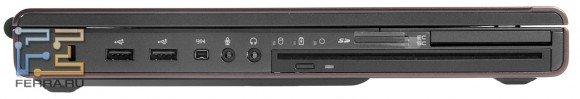 Левый торец Dell Precision M4700: Kensington Lock, два USB, FireWire, аудио разъемы, оптический привод, три светодиодных индикатора, карт-ридер, ридер SmartCard, слот ExpressCard/54