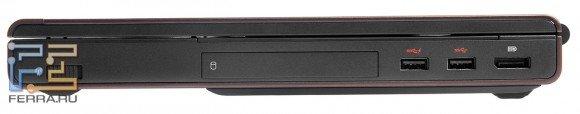 Правый торец Dell Precision M4700: DisplayPort, два USB 3.0, отсек для жесткого диска, переключатель беспроводных сетей