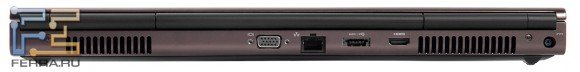 Задний торец Dell Precision M4700: разъем питания, HDMI, D-SUB, eSATA, RJ-45