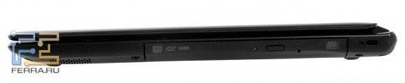 Правый торец Acer Aspire V5-571G: Kensington Lock и оптический привод