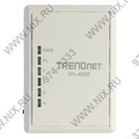 Сеть по электропроводке (Powerline) TRENDnet  TPL 405E  500Mbps Powerline AV Adapter  4UTP 10 100 1000 Mbps  Powerline 500Mbps